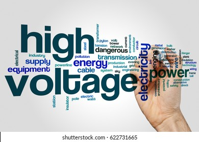 High voltage word cloud concept on grey background