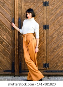 High waisted pants fashion trend. High waisted trousers. Woman attractive brunette wear fashionable clothes. Femininity and emphasize feminine figure. Girl wear loose high waisted pants. Fashion shop.
