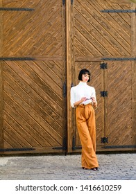 High waisted trousers. Woman attractive brunette wear fashionable clothes. Femininity and emphasize feminine figure. Girl makeup face wear loose high waisted pants. High waisted pants fashion trend.