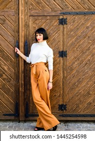 High waisted trousers. Woman attractive brunette wear fashionable clothes. Femininity and emphasize feminine figure. Girl wear loose high waisted pants. Fashion shop. High waisted pants fashion trend.