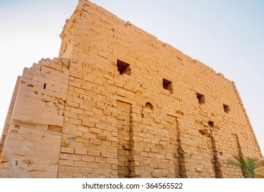 High wall at the Temple of Karnak in Luxor Egypt