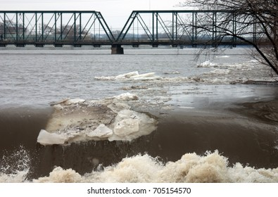 High water in the Grand River during a winter flood