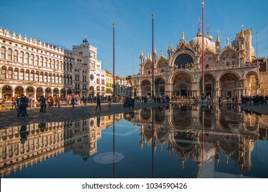 High water in St. Mark square in Venice, Italy