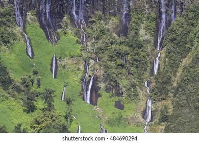 High Waterfalls in Reunion Island
