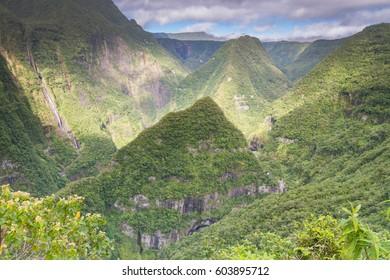 High Waterfalls in Takamaka Gorge in Réunion, France