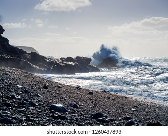 High waves breaking at Playa Negra de Ajuy at Fuerteventura, Spain