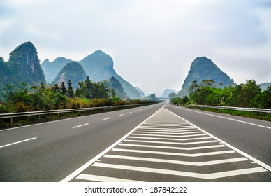 the high way go through in the mountain of Guilin.