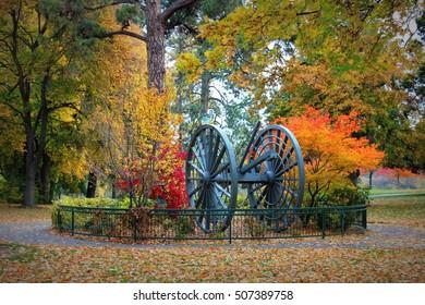 High Wheel Log Skidder at Drake Park in Bend Oregon in the Fall Season
