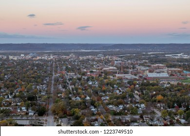 A High Wide Angle Shot of Dawn over Rural La Crosse, Wisconsin during Autumn from Granddad Bluff
