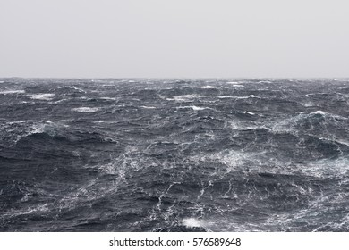 High Winds Forming Streaks at Stormy Ocean
