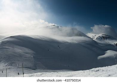High winter mountains, Flaine ski resport, Alps, taken in March 2016.