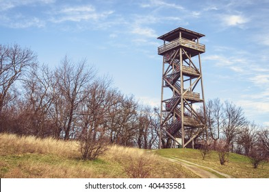 high wooden observation tower in the country
