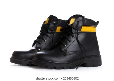 The high work  black leather boots isolated on white background