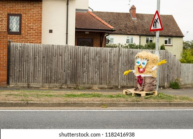 High Wych, Essex, UK - SEPTEMBER 8, 2018: Scarecrow traditional festival taking inspiration from all theme of our contemporary life. Representing Spongebob