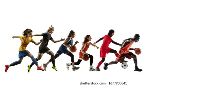 High. Young sportsmen running and jumping on white studio background. Concept of sport, movement, energy and dynamic, healthy lifestyle. Training, practicing in motion. Flyer. Football, basketball.