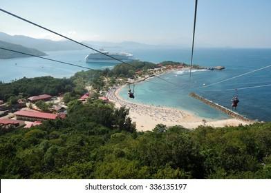high Zipline on caribbean
