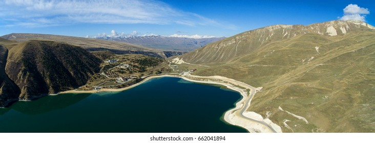 High-altitude lake Kezenoy am. Panorama. Chechnya. Russia