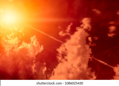 High-altitude nuclear explosion of Missile explosive over the sky release heat and air radiation concept.