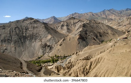 High-altitude road in the Himalayas, Leh district, Western Ladakh, Himalayas, Jammu and Kashmir, Northern India