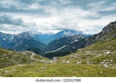 High-altitude road in Slovenia Alps