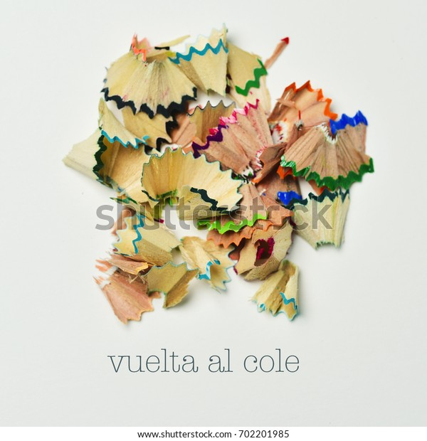 high-angle shot of a pile fan-shaped shavings of different colors and the text text vuelta al cole, back to school written in spanish, on an off-white background