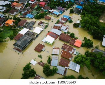 High-angle view of the Great Flood, Meng District, Ubon Ratchathani Province, Thailand, on September 10, 2019, is a photograph from real flooding. With a slight color adjustment