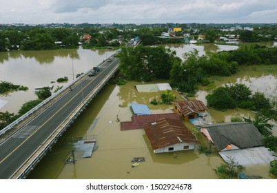 High-angle view of the Great Flood, Meng District, Ubon Ratchathani Province, Thailand, on September 13, 2019, is a photograph from real flooding. With a slight color adjustment