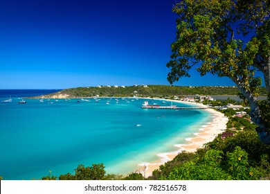 A high-angle view of Sandy Ground Beach, on the island of Anguilla in the Caribbean. (3405)