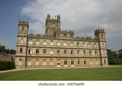 HIGHCLERE CASTLE NEAR NEWBURY UK; CIRCA SEPTEMBER 2014. Highclere Castle is a country house in the Jacobethan style used as a film location for the TV period drama Downton Abbey.