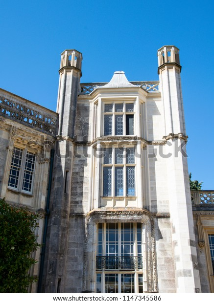 Highcliffe, United Kingdom - July 22 2018:   A tower of highcliffe castle on a sunny day