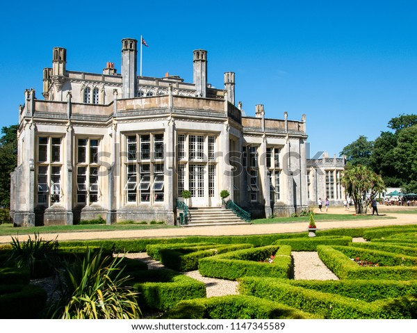Highcliffe, United Kingdom - July 22 2018: The garden entrance to High cliffe Castle