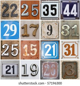 High-definition composition of 16 street numbers