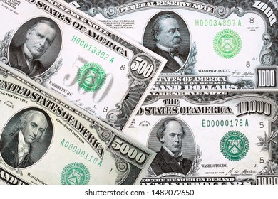 High-denomination banknotes of American Dollar, a background