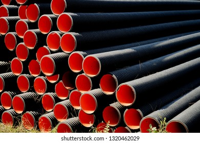 High-density Polyethylene (HDPE) corrugated water pipes of prepared for laying