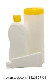 High-density polyethylene, HDPE, PEHD, PEAD bottle, shallow depth of field