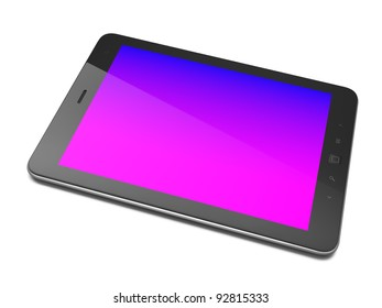 High-detailed black tablet computer with colored screen. Tablet pc  on white background, 3d render