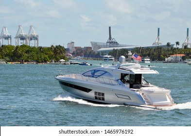 High-end Cabin Cruiser on the Florida Intra-Coastal Waterway off Miami Beach