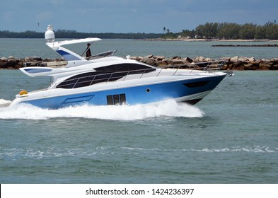 High-end light blue and white cabin cruiser