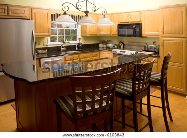 Highend Luxury Modern Kitchen Granite Counter Stock Photo Edit Now 6103843