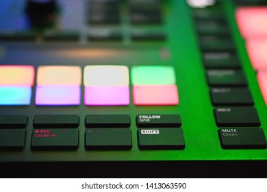 High-End MIDI Controller in Music Production Studio for EDM-Production