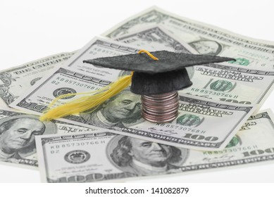 Higher education savings and focus on hundred dollar  bill