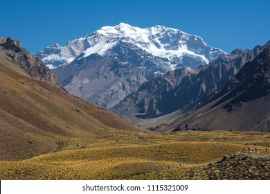 The highest mountain in America. It's name is Aconcagua.