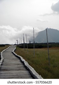 The Highest Mountain of the Czech Republic - Snezka. Autumn Landscape with wooden pathway.