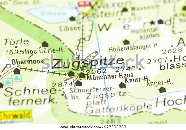 Map Of Germany Mountains.Highest Mountain Germany On Map Zugspitze Stock Photo Edit Now