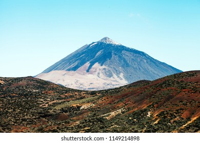 Highest peak of Volcano Mount Teide with desert and lava landscape. Tenerife, Canary islands