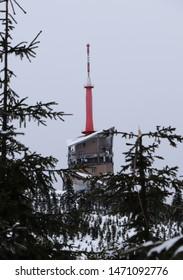 The highest place in Beskydy Mountains, czech republic center of Europe. Lysa hora is a symbol of Moravian lands. Building contains TV transmitter and Weather station. Bad weather. Fog and snow.