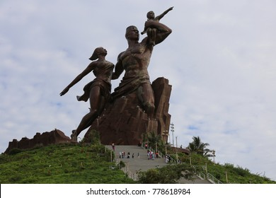 """The highest statue of the world located in Dakar in Senegal, and which is called """"monument de la renaissance africaine"""". The picture has been taken on 1st september 2016."""