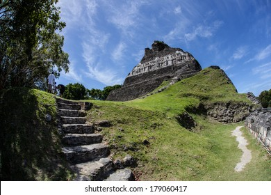 The highest temple in Xunantunich, an ancient Mayan archeological site in western Belize, rises over 130 ft. The city was a ceremonial center that was abandoned around AD 750 due to a violent event.