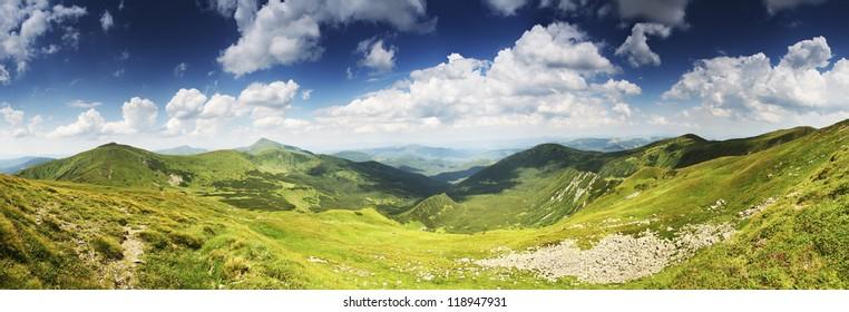 Highest Ukrainian mountain ridges panorama. Chornogora ridge