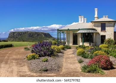 Highfield historic site with view to the famous landmark The Nut, Stanley, Tasmania